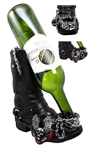 Atlantic Collectibles Chained Biker Skull Death Angel Boot Wine Holder Figurine 8.5