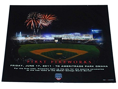 College World Series Omaha First Fireworks Td Ameritrade Park Print 16 X20