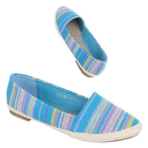 Ital-Design Damen Schuhe, FC15-S31, Halbschuhe Moderne Slipper Blau Multi