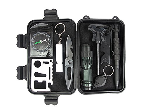 Eachway-Professional-10-in-1-Emergency-Survival-Gear-Kit-Outdoor-Survival-Tool-with-Fire-Starter-Whistle-Survival-Knife-Flashlight-Tactical-Pen-etc-for-Outdoor-Travel-Hike-Field-Camp