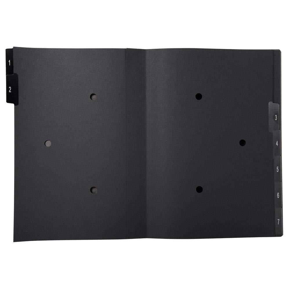 Exacompta Ordonator 57007E Trieur rigide /économique 7 compartiments num/ériques 24 x 34 Noir