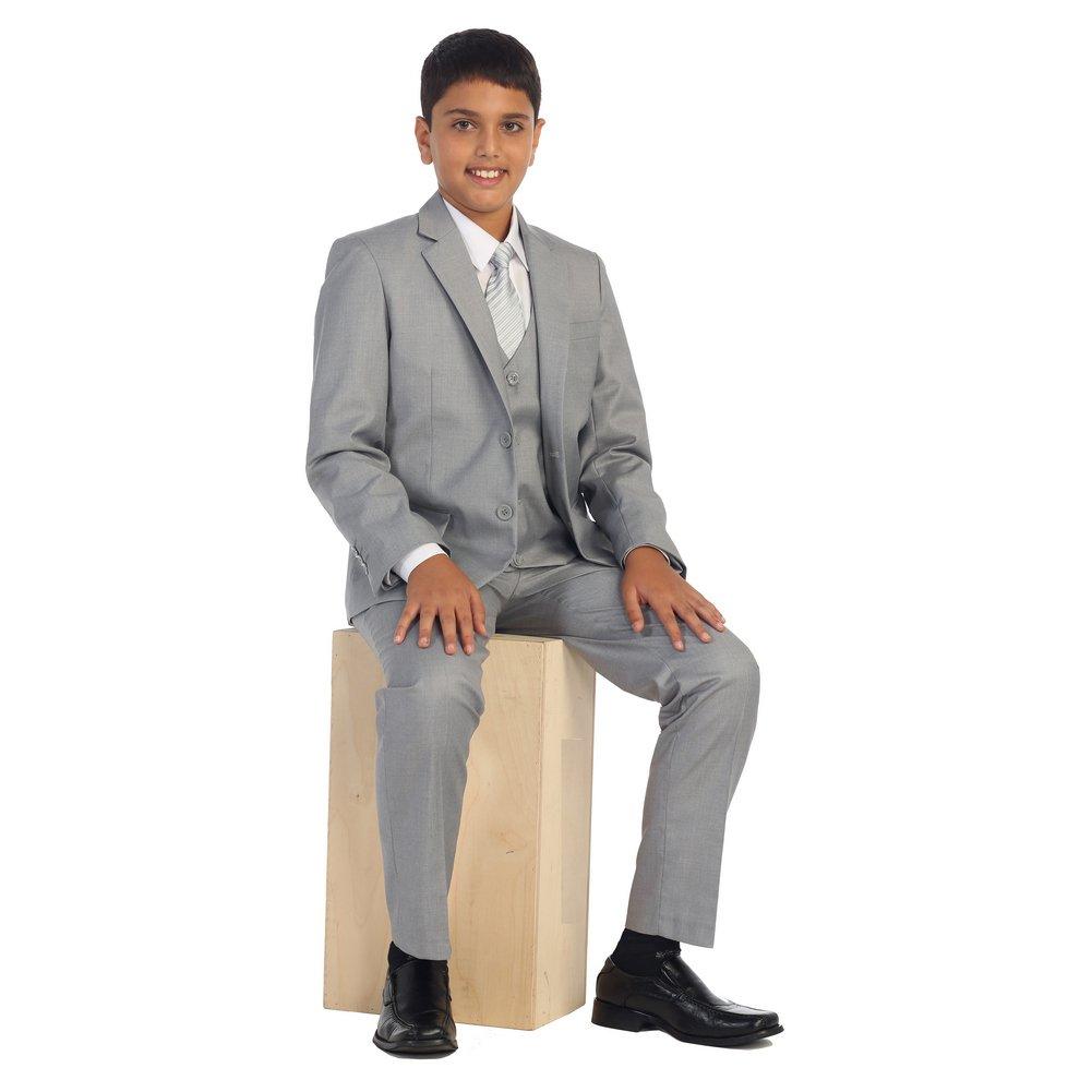 Big Boys Light Gray Vest Pants Jacket Necktie White Shirt 5 Pcs Suit Set 18