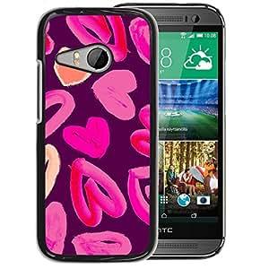 Supergiant (Heart Love Pink Watercolor Purple Peach) Impreso colorido protector duro espalda Funda piel de Shell para HTC ONE MINI 2 / M8 MINI