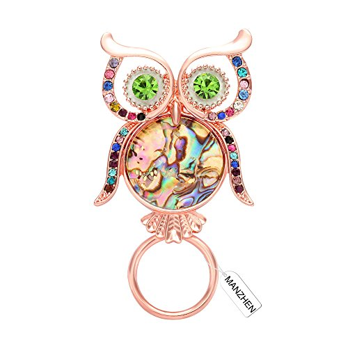 MANZHEN Colorful Crystal Rhinestone Owl Abalone Paua Shell Magnetic Eyeglass Holder Brooch for Shirt (Rose Gold)