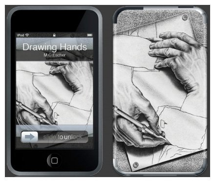 GelaSkins Protective Skin for iPod touch 1G (Drawing Hands)--with Access to Matching Digital Wallpaper Downloads