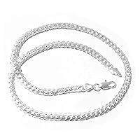Yonisun 5mm 20 pulgadas 925 Collar de cadena de plata esterlina Hombres /Mujeres Joyería de Moda Nuevo pimchanok