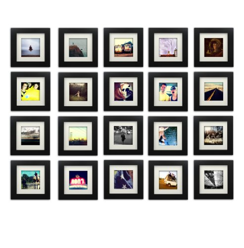20-set, Tiny Mighty Frames - Wood Square Instagram Photo Frame, 6x6 (5.5x5.5 Window), 4x4 Mat (3.5x3.5 Window), Hanging (20, BLACK)
