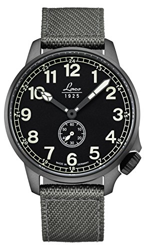 Laco/1925 Men's Cockpitwatch Stainless Steel Japanese-Automatic Watch with Nylon Strap, Grey, 20 (Model: 861908) ()