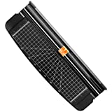 Firbon A4 Paper Cutter 12 Inch Titanium Paper Trimmer Scrapbooking Tool with Automatic Security Safeguard for Craft Paper, Coupon, Label and Cardstock (Black)
