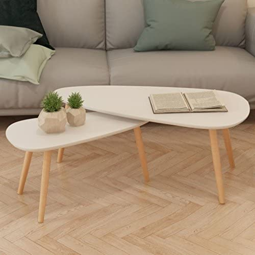 Festnight 2 Piece Coffee Table Set MDF Tabletop