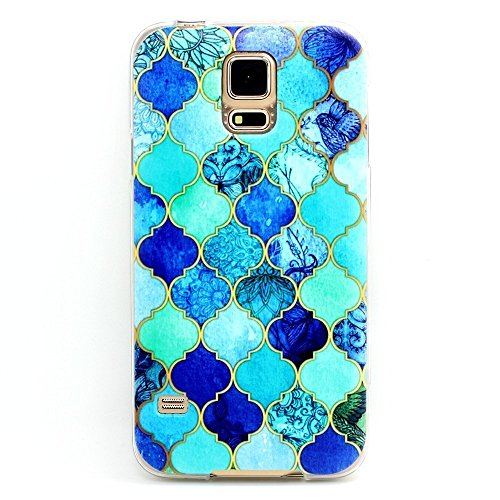 Samsung Galaxy S5 , BAISRKE Clear TPU Silicone Gel Back Cover Skin Soft Case for Samsung Galaxy S5 i9600 (Not for S5 Mini) Many Blue Lanterns Style