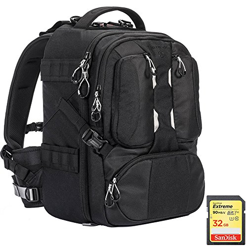 Tamrac ANVIL 17 Photo DSLR Camera and Laptop Backpack (Black) with Sandisk 32GB Extreme SD Memory UHS-I Card w/90/40MB/s Read/Write