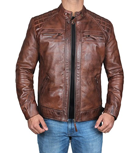 Mens Classic Vintage Distressed Dark Brown Leather Jacket - Motorcycle Leather Jacket (Johnson -Brown Quilted Leather Jacket, (Classic Distressed Brown Leather)