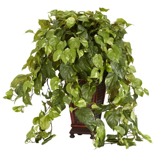 Nearly-Natural-6703-Vining-Pothos-with-Vase-Decorative-Silk-Plant-Green