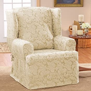 Scroll Classic Wing Chair T Cushion Skirted Slipcover Color: Champagne