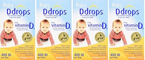 Ddrops hQvYwF Baby 400 IU, Vitamin D, 90 drops 2.5mL, 4 Pack For Sale