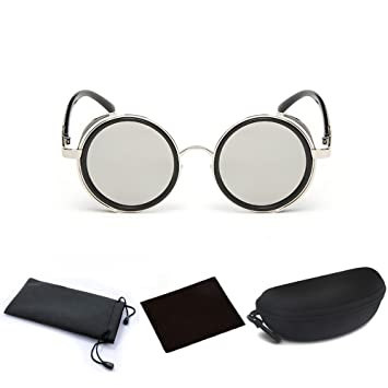 af6ed248672 Hot Mens Womens Steampunk Retro Style 50s Silver Frame Round Gray Mirror  Lens Glasses Blinder Sunglasses