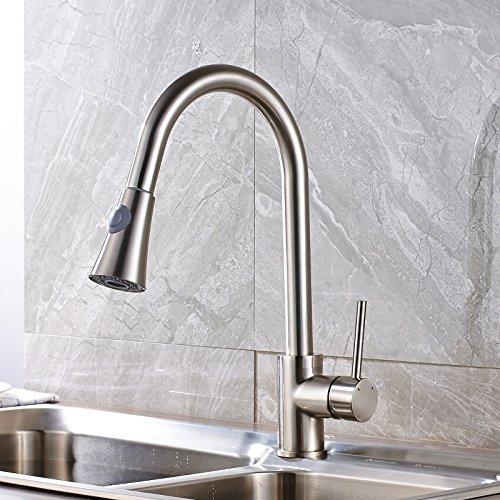 Votamuta Pull Down Kitchen Sink Faucet Swivel Spout