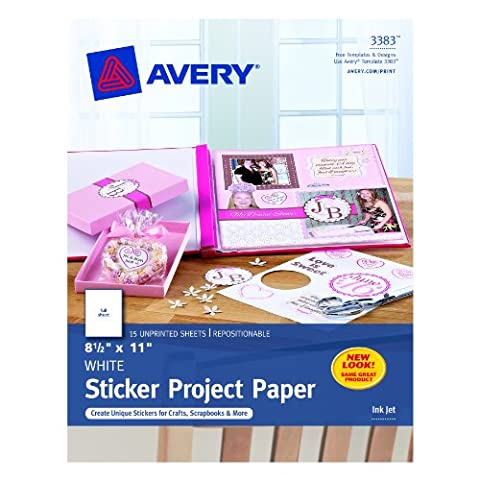 Avery Sticker Project Paper, White, 8.5 x 11 Inches, Pack of 15 (03383) (A Sticker)