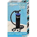 Aqua Double Quick, Heavy Duty Air Pump for Inflatables, Air Mattresses, Sports Balls, Dual-Action Hand Pump, 4 Nozzle Attachments, Black