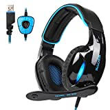 SADES 2017 New SA902 Blue 7.1 Channel Virtual USB Surround Stereo Wired PC Gaming Headset Over Ear Gaming Headphones with Microphone Revolution Volume Control Noise Canceling LED Light (Black/Blue)