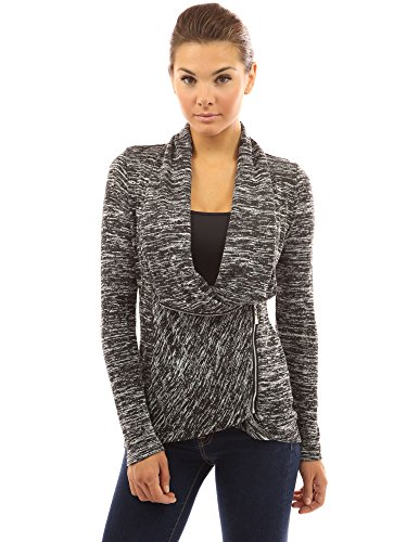 PattyBoutik Women's Marled Wrap Zip Up Drape Cardigan (Black and White L)