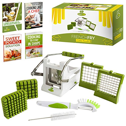 Chef's Path French Fry Potato Cutter Bundle:Potato French Fries/Vegetable Slicer-Chipper 2-size SS Blades Suction Base,Bonus 3in1Peeler/Eye Picker/Fruit-Vegetable Brush & Cleaning Brush,Free E-Books (French Fry Cutter Sweet Potato compare prices)