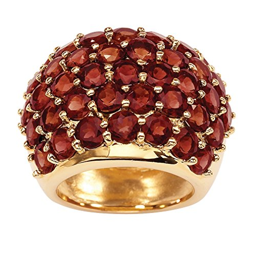Palm Beach Jewelry Round Genuine Red Garnet 14k Gold-Plated Cluster Dome Ring Size 8 (Cluster Genuine Garnet)