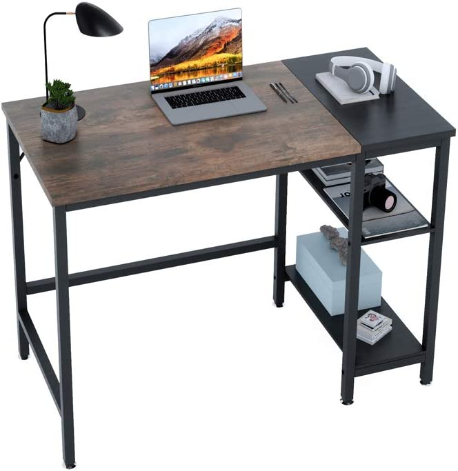 Extra Mile Computer Desk with Storage Shelves,47 Inch Small Desk Study Writing Table for Home, Office, Study Room, Bedroom,Vintage Rustic Brown and Black