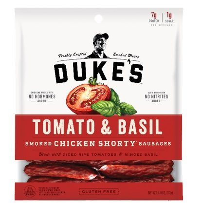DUKE'S Tomato & Basil Chicken Shorty Smoked Sausages, 4.0-ounce Bags (Pack of 2)