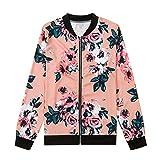 Diamondo Women Fashion Biker Digital Floral Printed Bomber Long Sleeve Jacket (Pink, XL)