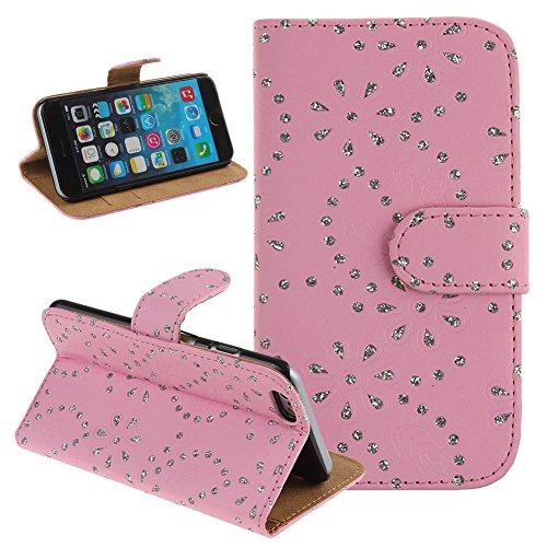 iPhone 6S funda, iPhone 6S/6 tipo, para iPhone 6S, funda para iPhone 6S 11,94 cm, funda para iPhone 6S 11,94 cm, con soporte para iPhone 6S 11,94 cm, brillantes NSSTAR de lujo piel sintética con un ra rosa