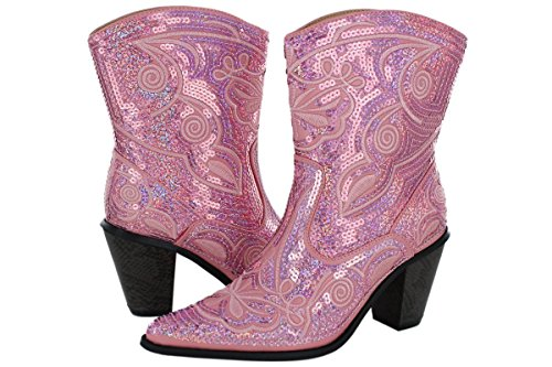 Helens Heart Helens Heart Womens Sparkle Sequin Bling Short Western Cowgirl Boots Assorted Colors Pink VghoMVL4ST