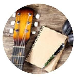 alfombrilla de ratón auriculares lápiz del cuaderno de la guitarra - ronda - 20cm