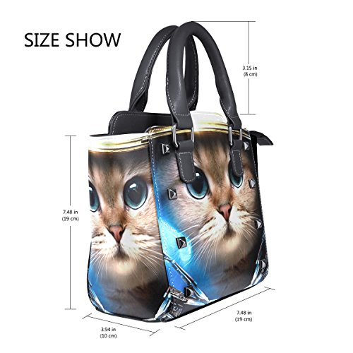 Space Handbags Bags Tote Women's Custom Shoulder Cat Leather from TIZORAX HqwZOPx