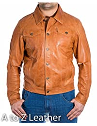 Mens Brown Tan Leather Fitted Denim Levis Western Trucker Shirt Style Jacket