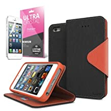 Black/ Brown CellTo Faux Leather Diary Flip Case w/ ID Slots, Bill Fold, Magnetic Closure & Free Screen Protector for Apple iPhone 5/5S