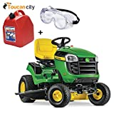 Toucan City Gas Can with Safety Goggles and John Deere E120 42' 20 HP V-Twin Gas Hydrostatic Lawn Tractor-California Compliant BG21075