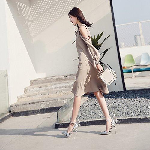 alti long245mm Silver 39 di ALUK scarpe punta Scarpe donna farfalla europea da Champagne Moda sexy e tacchi sandali americana Shoes dimensioni Colore ali a R8qBR4gx
