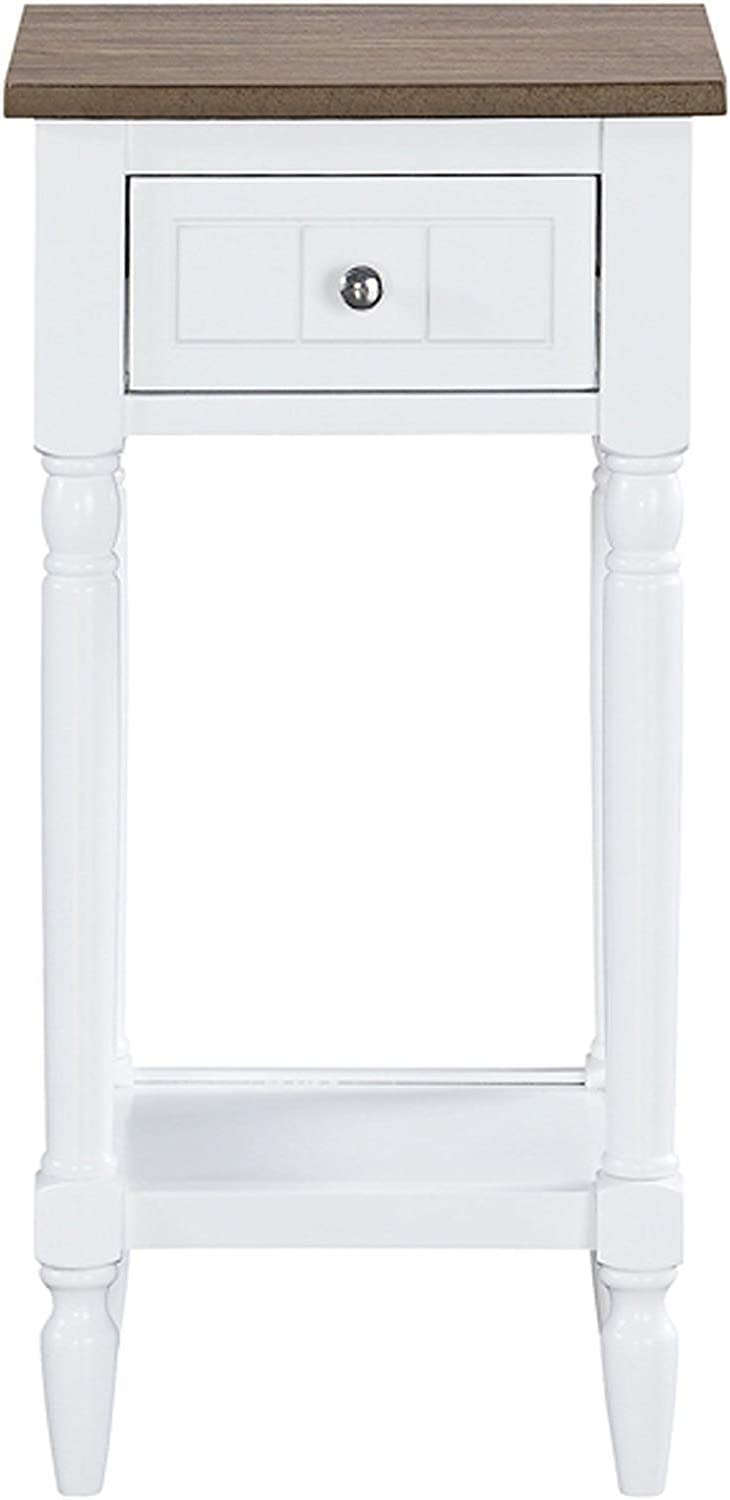 Convenience Concepts French Country Khloe Accent Table, Driftwood Top / White Frame