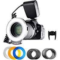 FOSITAN 18 LED Macro Ring Flash light for Nikon Canon Camera DSLR with LCD Display Power Control, 8 Adapter Rings, 4 Light Diffuser