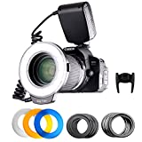 Photo : FOSITAN 18 LED Macro Ring Flash light for Nikon Canon Camera DSLR with LCD Display Power Control, 8 Adapter Rings, 4 Light Diffuser