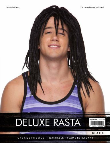 BLACK REGGAE HIPPIE TROPICAL DELUXE RASTA SYNTHETIC HAIR WIG by Characters