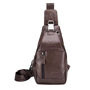 3e7c582c63f4 Amazon.com   Men s Sling Bag Genuine Leather Chest Shoulder Backpack Anti-Theft  Cross Body Pack for Travel Hiking Working School Business Multipurpose ...