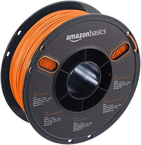 AmazonBasics PLA 3D Printer Filament,1.75mm,Orange,1 kg Spool