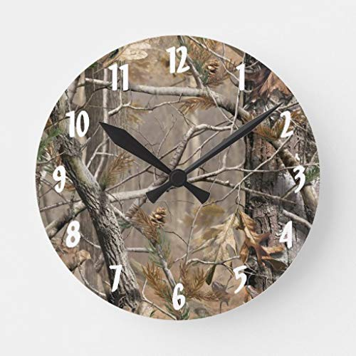 Moonluna Camo Camouflage Hunting Real Tree Hunt Wood Wall Clock Decor for Bedroom Nursery Round Silent Art Clock for Kids Girls Boys Room 14 Inches