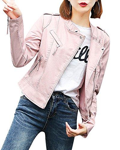 Veste Manches Longues PU En Pink Femmes Slim Jacket Courte Cuir Casual wOaYYq