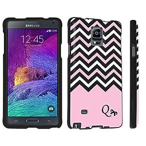 DuroCase ? Samsung Galaxy Note 4 Hard Case Black - (Black Pink White Chevron Q)