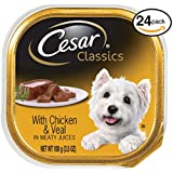CESAR CANINE CUISINE Wet Dog Food with Chicken and Veal, (Pack of 24) 3.5 oz. Trays