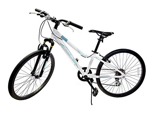 Ryda Bikes Moab - 24'' White Youth Unisex Mountain Bike - 8 Speed All Purpose Bicycle for Kids and Teens with Flat Proof Tires